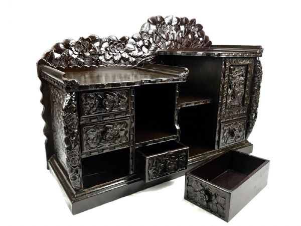 Antique 19th Century Chinese Carved Wooden Tea Cupboard / Cabinet Lotus Flower
